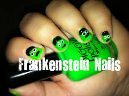 how to paint easy simple frankenstein halloween nail art youtube