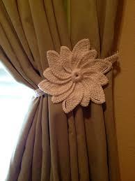 crochet curtain tiebacks 1 pair white flower by jinescrafts on