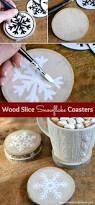 diy wood slice snowflake coasters home gift guide