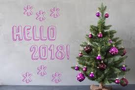 hello christmas tree christmas tree cement wall text hello 2018 stock image image of