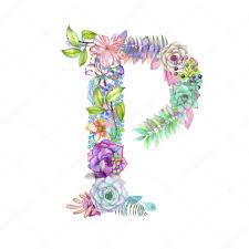imagenes en ingles con la letra p letra p de flores acuarela dibujado sobre un fondo blanco diseño