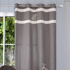 linge d antan rideau tamisant à œillets 100 coton parement brodé lettres gris