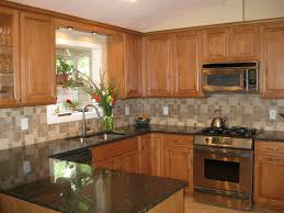 Brown Subway Travertine Backsplash Brown Cabinet by Glass Countertops Kitchen Backsplash With Oak Cabinets Mosaic Tile