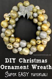 diy ornament wreath tutorial happiness is