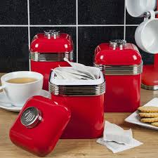 red canisters for kitchen swan retro set of 3 canisters red robert dyas