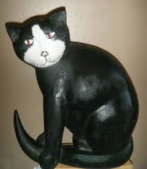 carved and painted wooden cat black white cat ornament made