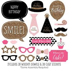 photo booth props chic happy birthday birthday photo booth props kit 20 count