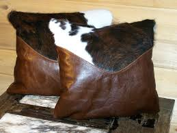 Cowhide Pillows H M Valley Ranch Store Western Decor Cowhide And Leather Pillows