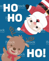 cute santa claus and reindeer illustration for christmas card