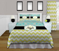 Personalized Comforter Set Stunning Green Gray And Turquoise Bedding Get The Whole Set