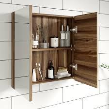 clarity walnut 2 door bathroom mirror cabinet victoriaplum com