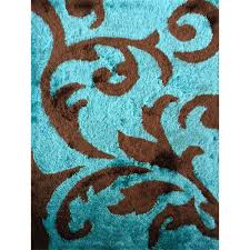 Area Rugs Turquoise Rug Addiction Tufted Polyester Turquoise And Brown Shag Area
