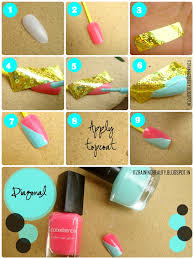 easy scotch tape nail art aqua and black color block nails