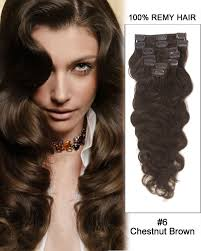 human hair clip in extensions 24 7pcs 6 chestnut brown wave 100 remy hair clip in hair