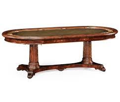 Leather Top Coffee Table High End Mahogany Poker Table With Brass Cup And Chip Holders