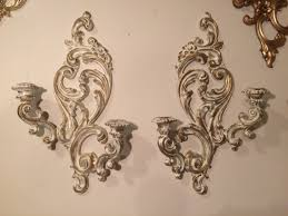 Home Interiors Sconces Syroco Sconces Extra Large Heavy Candle Holders Vintage 1940s