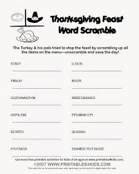 top 8 thanksgiving word scramble for