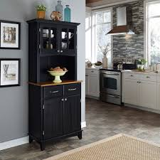 tall microwave cabinet black oak serving utility carts kitchen