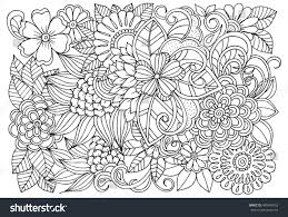 vector coloring page floral pattern doodle stock vector 485488165