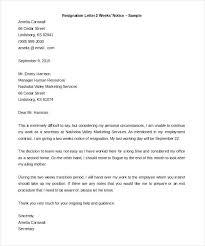 2 week resignation letter resignation letter sle on 2