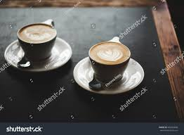 Cappuccino Cups Two Cups Cappuccino Latte Art On Stock Photo 402463606 Shutterstock