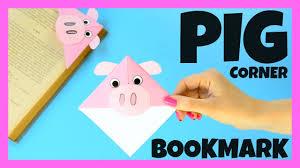 corner bookmark pig paper craft for kids youtube