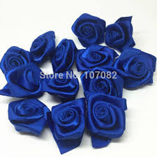 wedding flowers royal blue 100pcs 25mm royal blue ribbon roses flowers decorative flower