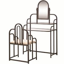 2 Piece Vanity Set Brown Glass Vanity Set With Stool Steal A Sofa Furniture Outlet