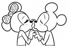 draw minnie mickey kissing step step disney