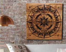 wood compass wall rustic nautical etsy