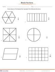 fraction worksheets for children from kindergarten to 7th grades