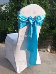 blue chair sashes sky blue satin chair sash bow ribbon wedding party banquet