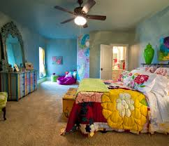 hippie bedroom ideas with 70s and down decorative pillows