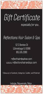 salon gift cards gift certificates reflections hair salon spa