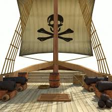 3d model low poly cartoon pirate ship textured cgtrader