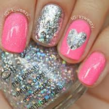 pink and glitter nails cute for tween or teen girls for more