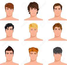 different hair set of up different hair style men portraits isolated