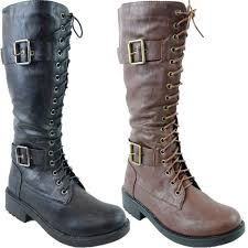ladies lace up biker boots ladies lace up side zipped long knee military womens boots biker
