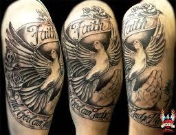 half sleeve faith dove design on half sleeve