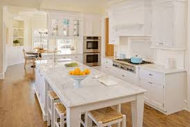 kitchen floating counter with natural stone countertops also