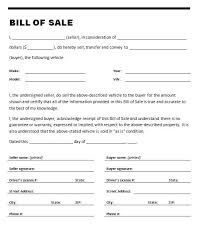 used car bill of sale form and fill in template sample vlashed