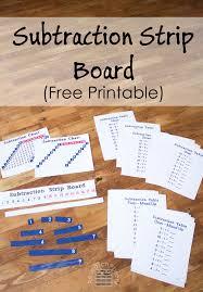 free printable subtraction strip board montessori free