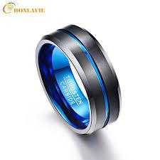 black bands rings images Bonlavie men 39 s 8mm blue black tungsten carbide rings matte jpg