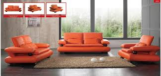 410 modern orange leather sofa loveseat and chair set