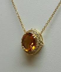 necklace with topaz images Yellow topaz and diamond necklace 14 k yellow gold genuine 2 20 ct jpg