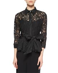 3 4 sleeve lace tie waist shirt women u0027s size 16 black rickie