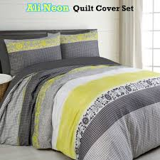 Yellow And Grey Bed Set Ali Neon Grey Yellow Quilt Duvet Cover Set Single