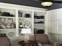Custom Bookcase Beautiful Family Room With Custom White Bookcases Wainscoting