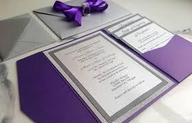 Wedding Invitation Folded Card Purple Silver Wedding Invitations Metallic Pocket Fold