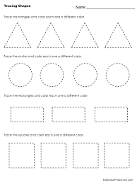 basic shapes tracing pages free coloring worksheets page practice